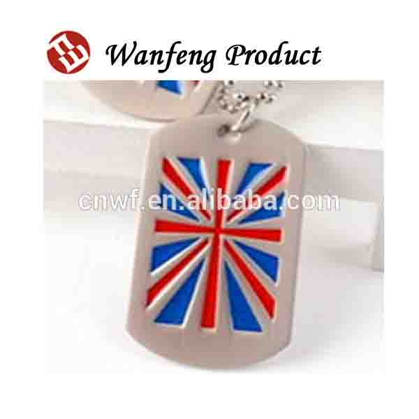 Cheap Personalized Engraving Shaped couple Country Flag Dog Tag with Silicone/Ballchain
