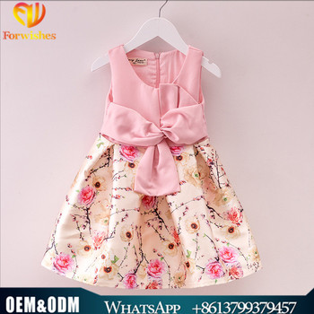 b01dc02c4 China wholesale frock design for baby girl bowknot behind printed pink dress  children clothes girls