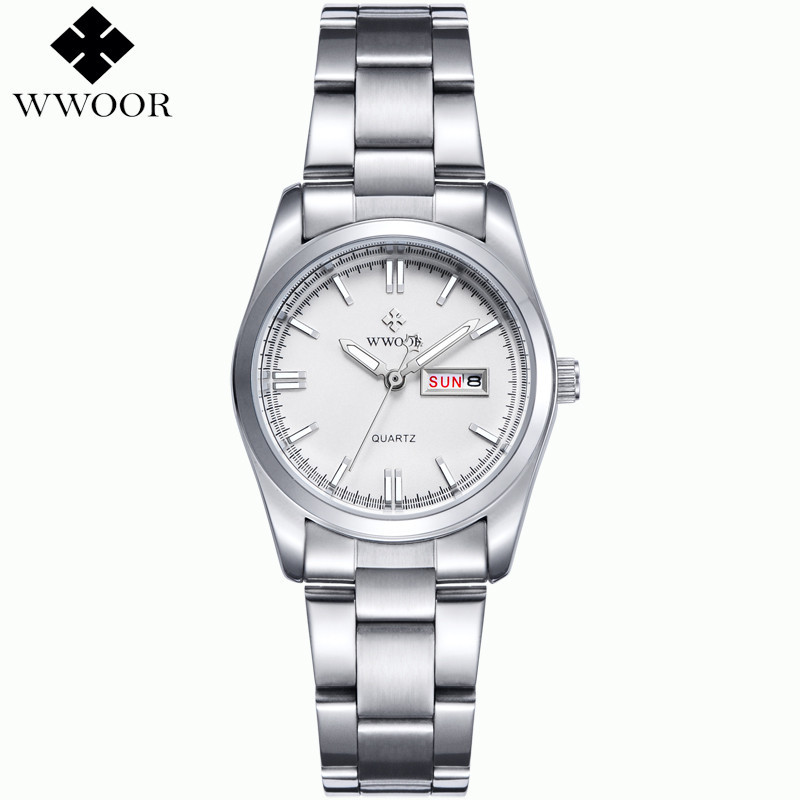 Wwoor Stainless Steel 3 Atm Water Resistantnded Watches La S Silver Quartz Chain Wris Ches