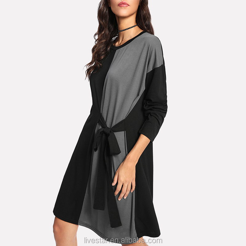 wholesale Latest Design Lady Long Sleeve T Shirt Dresses