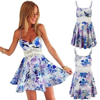 European Fashion Summer Dress Women Casual Print Sexy Dress