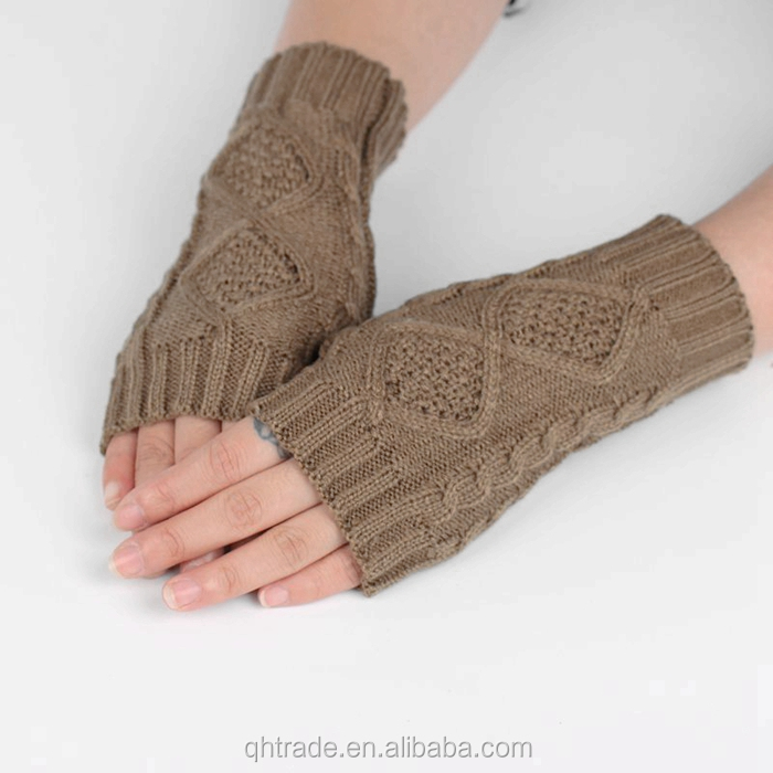 Fashion Arm Warmers 100% Acrylic Unisex Men Women Cute Mittens Fingerless Knitted Gloves