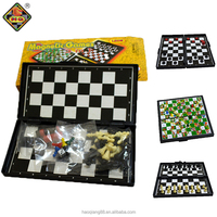 3 in 1 magnetic board game pieces chess set ,checker ,snake and ladder