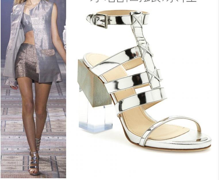 254872f2d8d3 Get Quotations · Silver sparkly heels thick high heels platform gladiator  ankle strap transperent shoes strange shoes