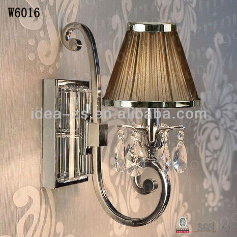 Crystal Wall Candle Light Wall Vintage Sconce With Fabric Shade