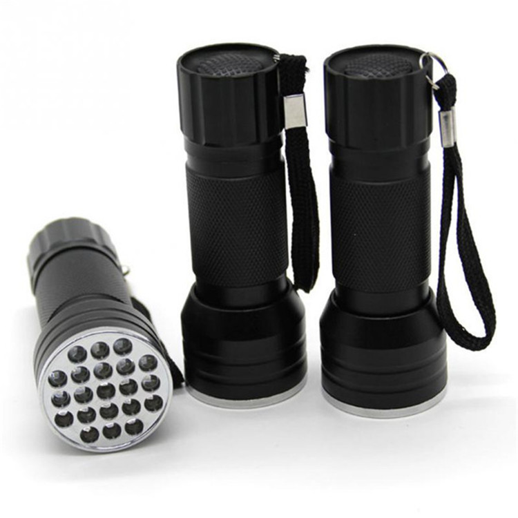 Portable 21led 395nm Ultraviolet Flashlight Brightness Outdoor blacklight UV Torch light OEM