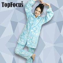 China Manufacture Warm Coral fleece Winter Long Sleeves Adult Couples Pajama