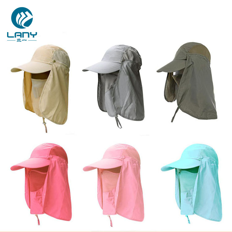 UV protection outdoor camping hunting hiking baseball cap travel flap <strong>hat</strong> with face mask + neck cover protection