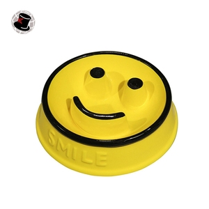 Smile Yellow Slow Anti Choke Dolomite Pet Bowl,cat feeder