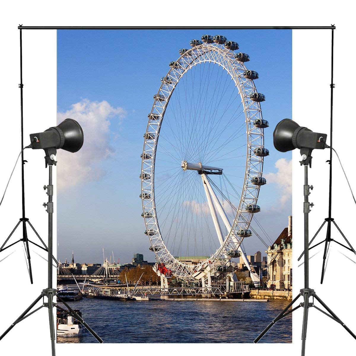 ERTIANANG 150x220cm London Eye Photography Background Ferris Wheel Backdrop Studio Props Wall Water Photography Backdrop
