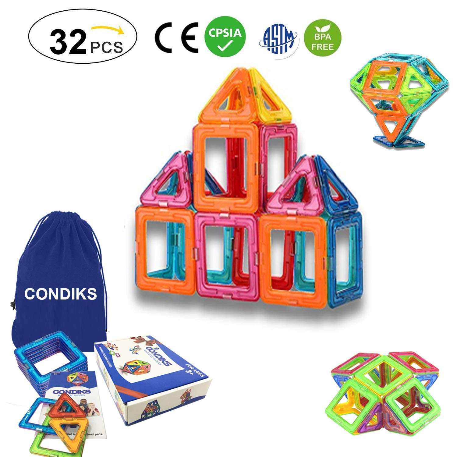 58 Pieces Magnetic Tiles magnetic Building Blocks Toys for Kids