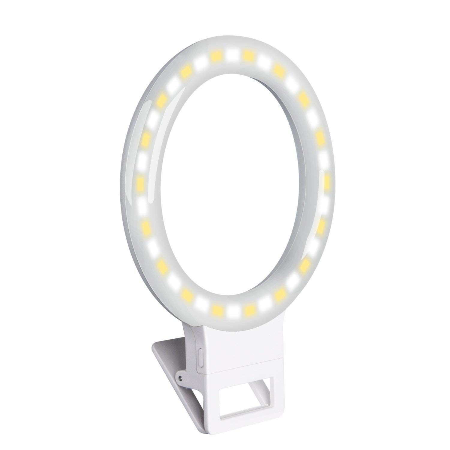WILTEEXS Selfie Ring Light [Rechargable Battery] a Mini 36 led Cell Phone Ring Light Clip for iPhone Phone Camera Photography [Cold and Warm Light] Selfie lamp White