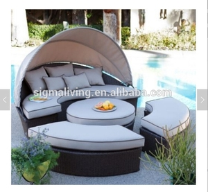 Sigma hookah lounge patio furniture outdoor daybed rattan canopy sofa for sale