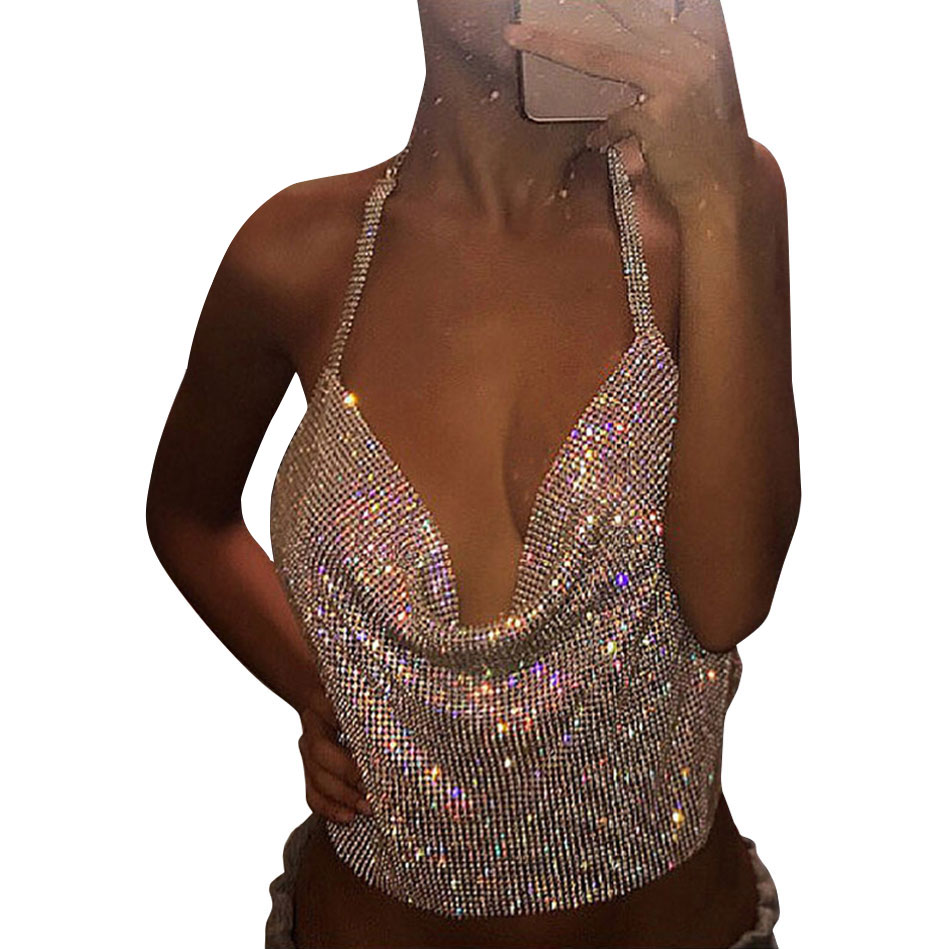 0271f4f2797331 Summer Crystal Womens Diamond Metal Crop Top Sexy Gold Plain Sparkly Sequin  Draped Chain Deep V Backless Club Vest