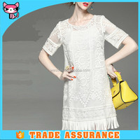 Promotion white lace loose short sleeve cheap dresses for young lady