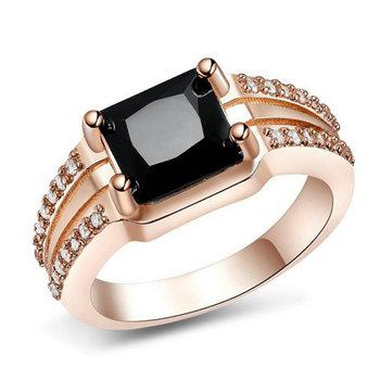 Jenia Black Diamond Zircon 18k Gold Plated Charm Design Keepsake Ethnic Dubai Wedding Rings