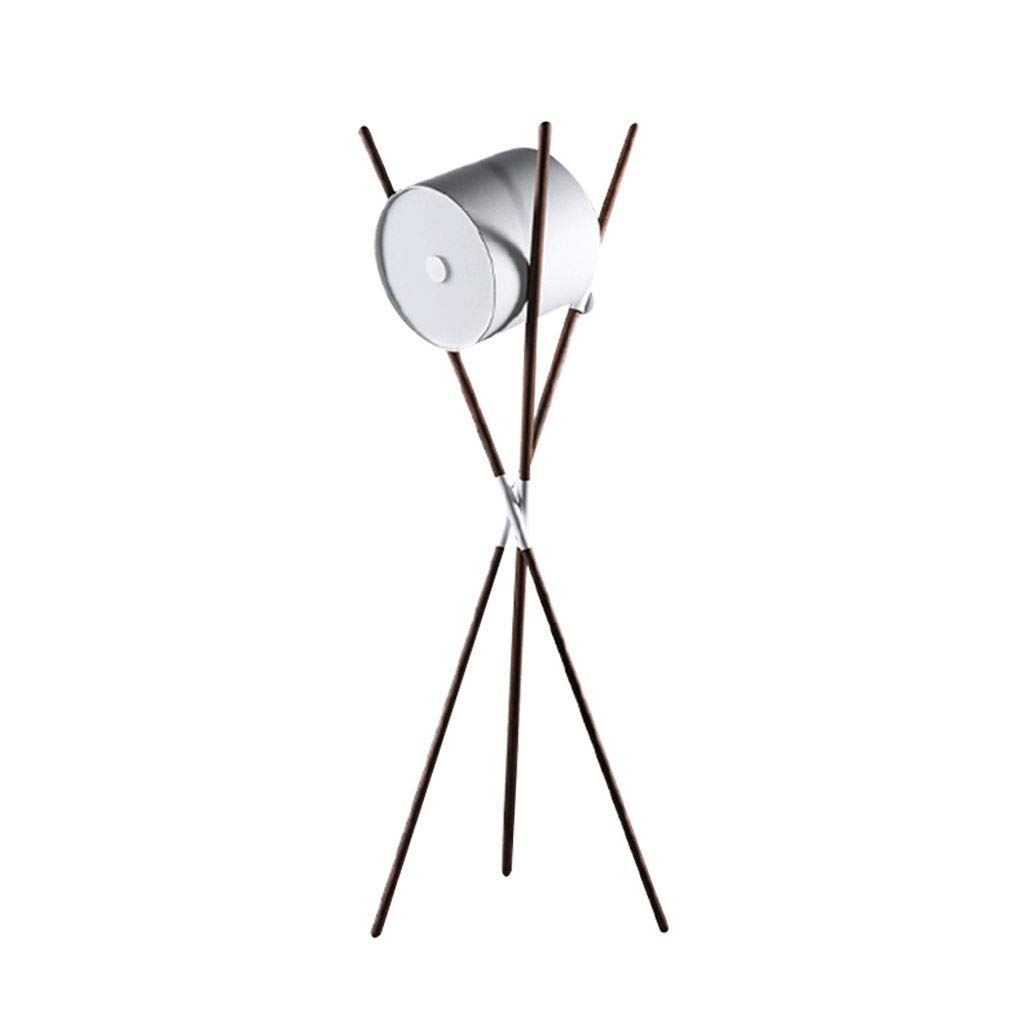Tripod Floor Lamp Nordic Leather Acrylic Lamp Cover Foot Switch LED 15W Warm Light Wood Living Room Bedroom Sofa Bed Floor Lamp (Color : White - Black Walnut)