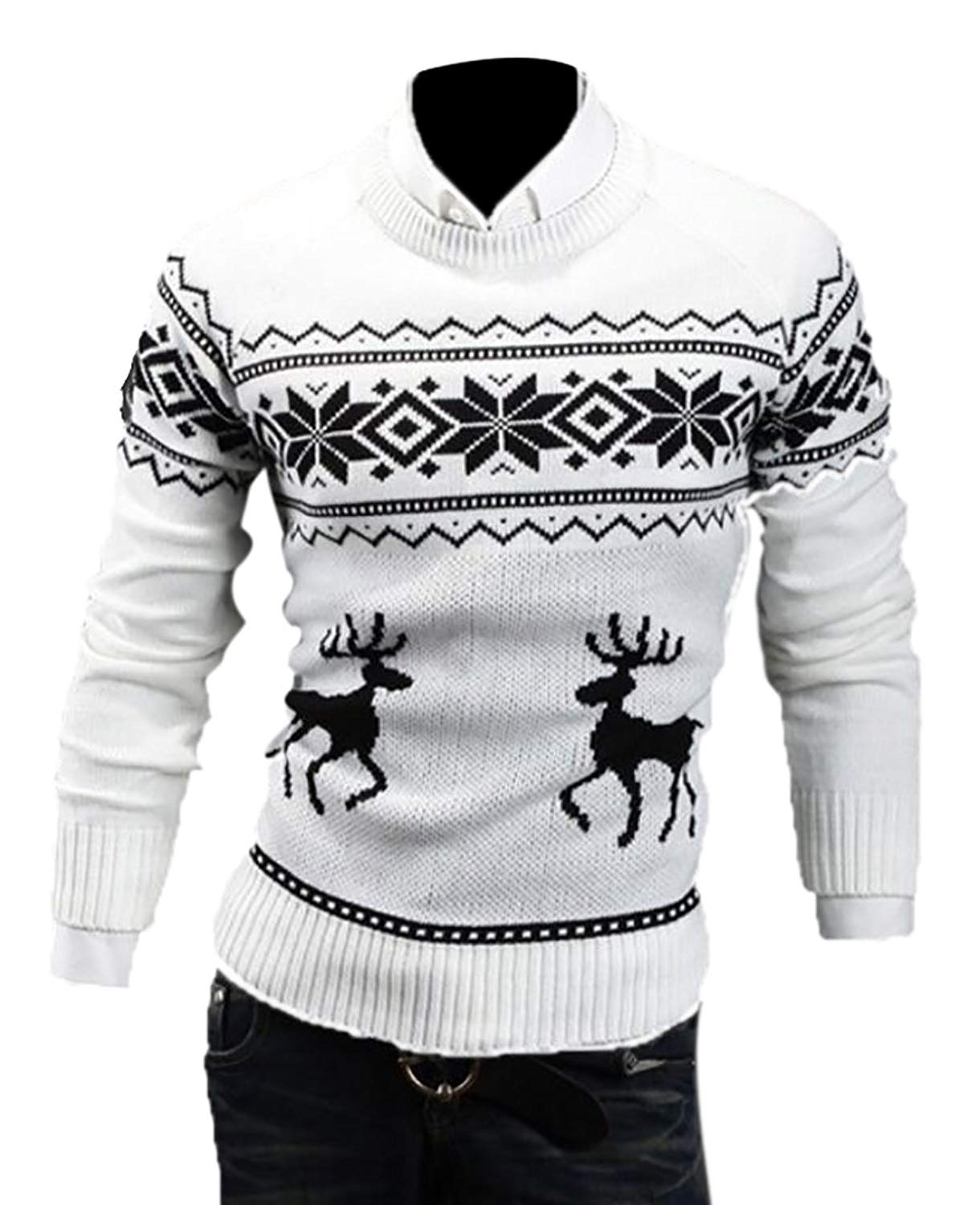 d885d5e26 Get Quotations · WSPLYSPJY Mens Ugly Christmas Sweater Reindeer Climax  Tacky Christmas Sweater White L