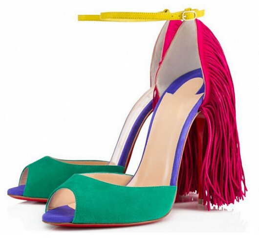 New 2015 Brand Summer Women Peep Toe High Heel Stiletto Sandals Leather Suede Tassel Sandals Boots Shoes for women Plus size