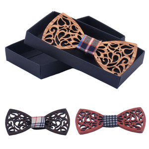 Fashion custom logo wooden bowtie wholesale for men with boxes