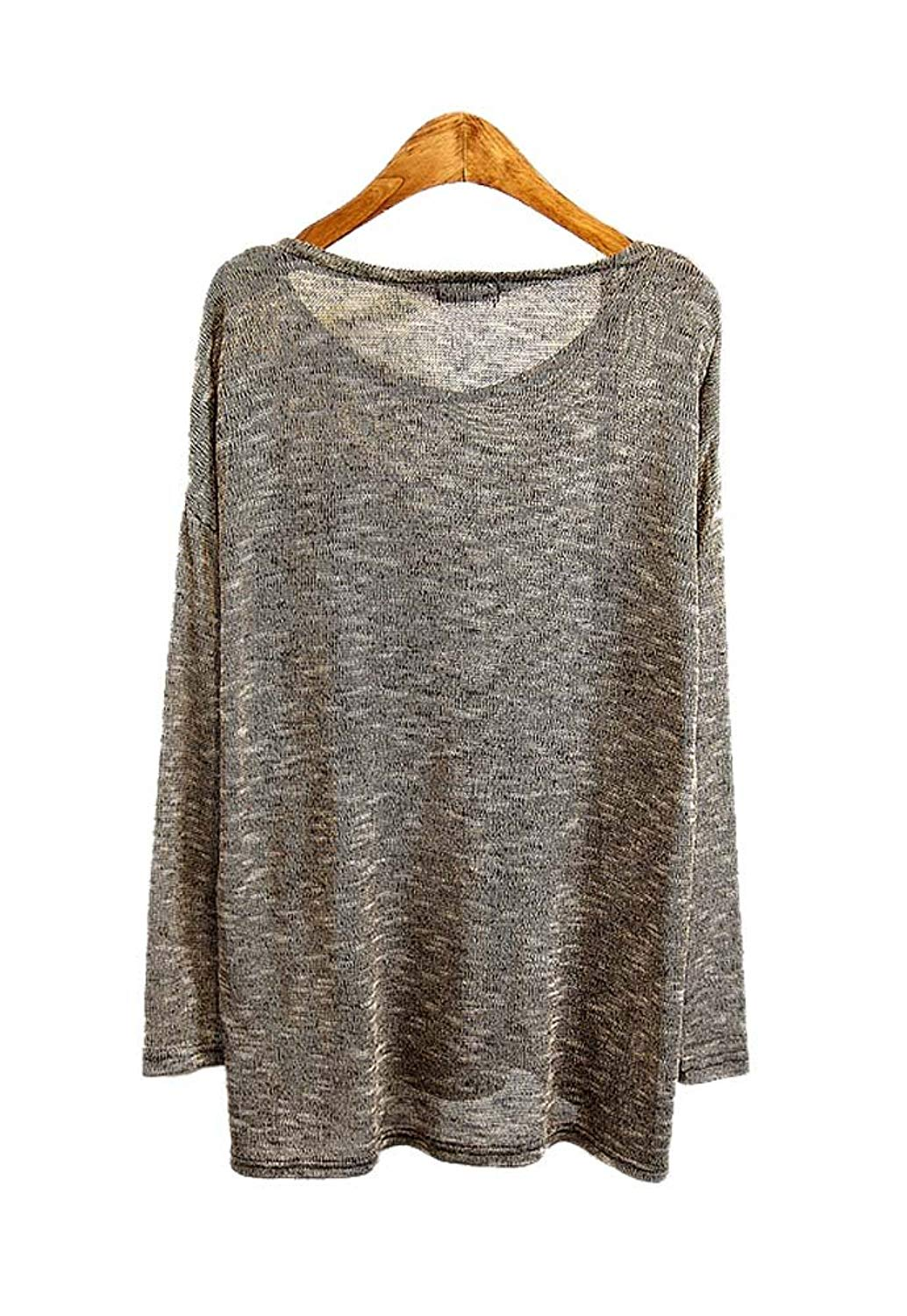 ARJOSA Womens Fashion Oversized Grey Knitted Long Sleeve Round Neck Pullovers Sweater