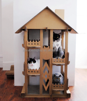 Wholesale indoor play cat mat / cardboard cat house new design tree house for cats pets animal sleep play fun