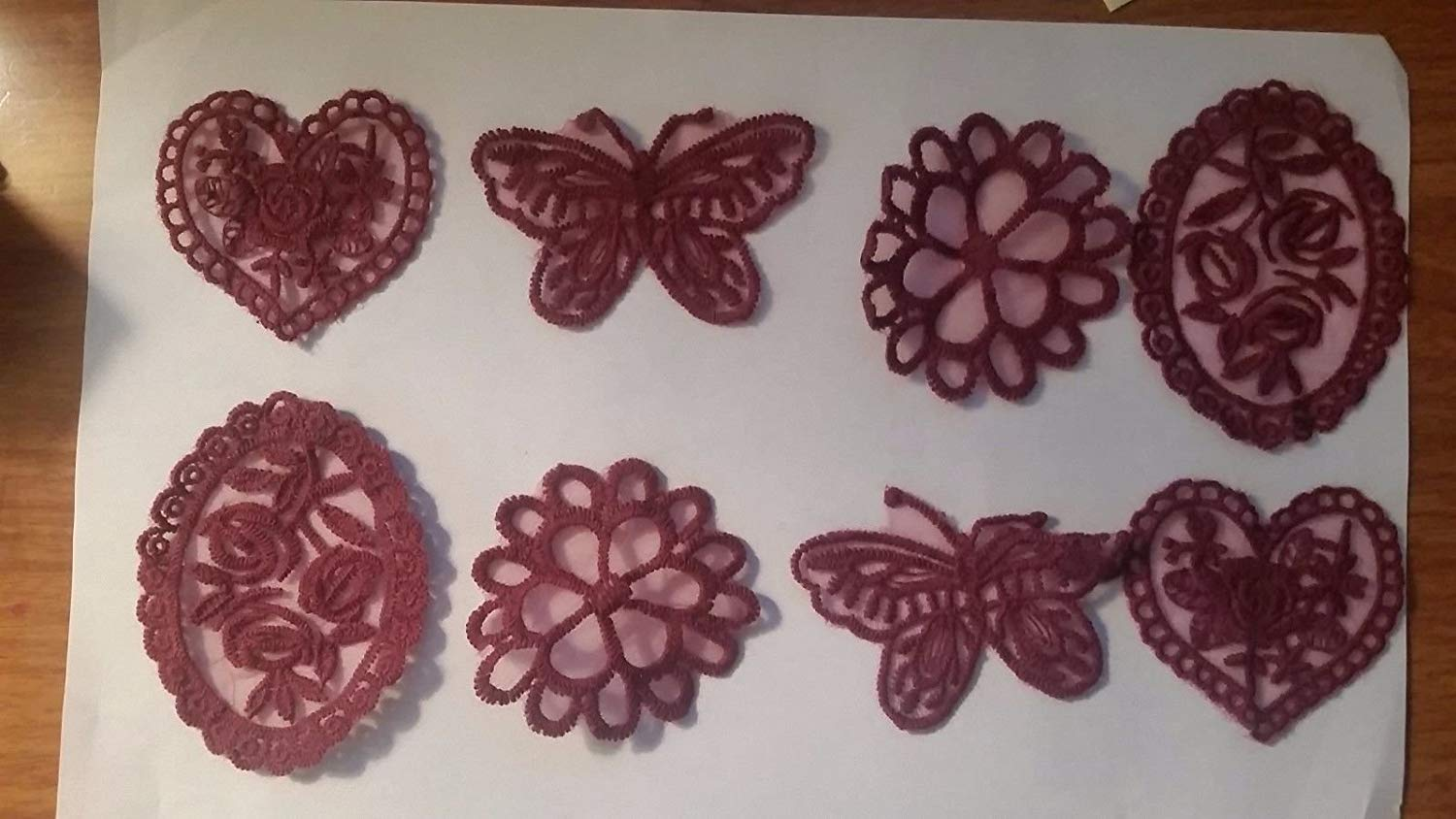 CraftbuddyUS 8 x Vintage Mixed Burgundy Lace Motifs Patches Sewing Sew on Stick on Crochet