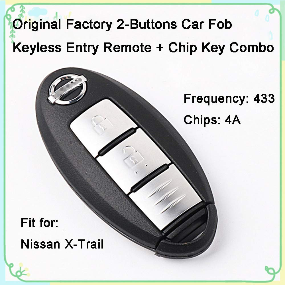 1 Sets 2 Buttons 433Hz Car Key Fob Keyless Entry Replacement Intelligent Smart Card Alarm Key Transmitter Programmer Remote Control & Uncut 4A Chips Key Combo for Original Nissan X-Trail