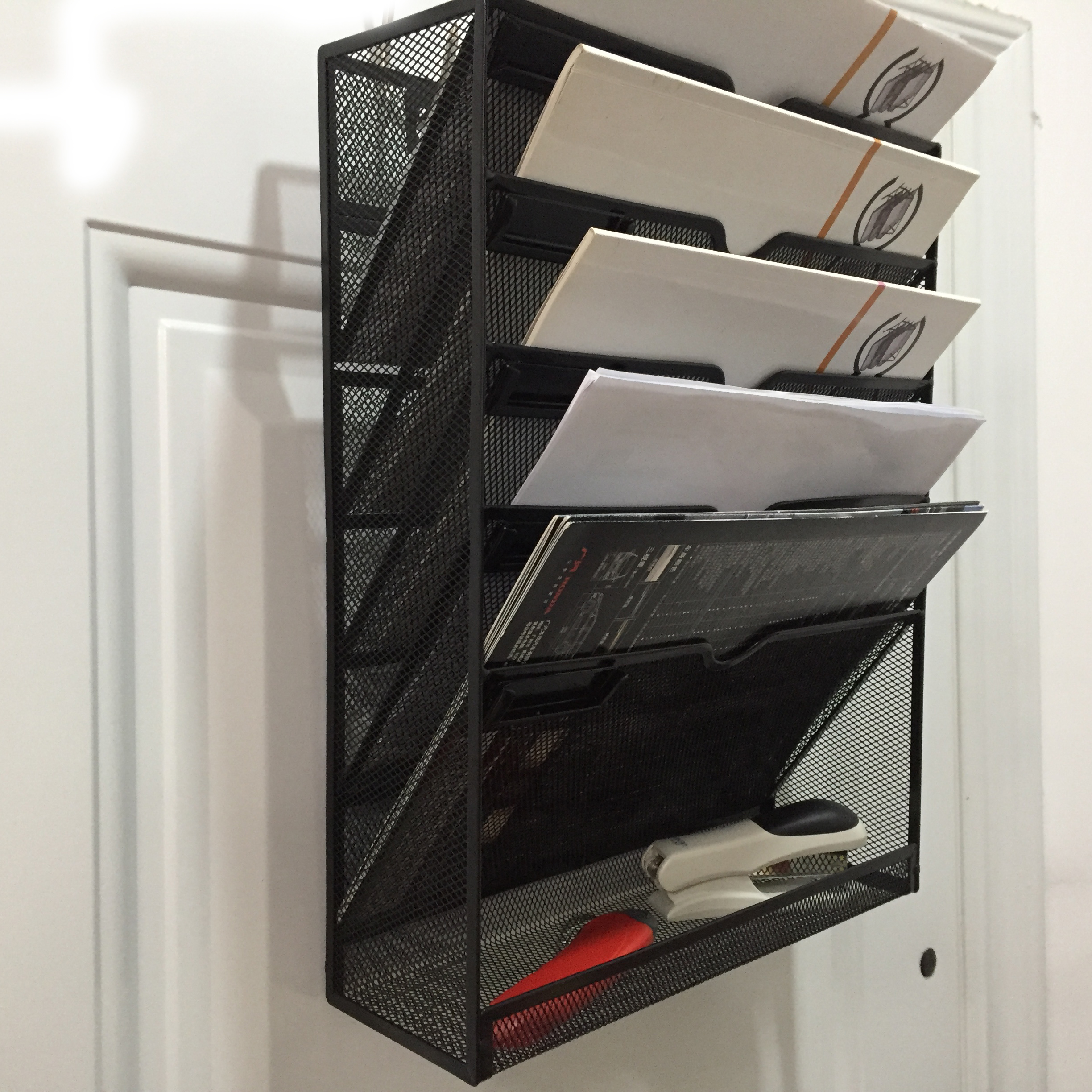 Office Supply 6 tier Metal Wire Mesh Wall Mounted Document Letter tray Organizer