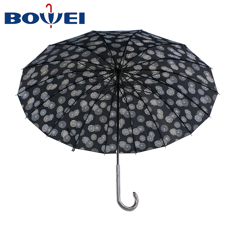20*16K Flower printed Chinese manufacturer high quality custom large capacity straight umbrella with J handle