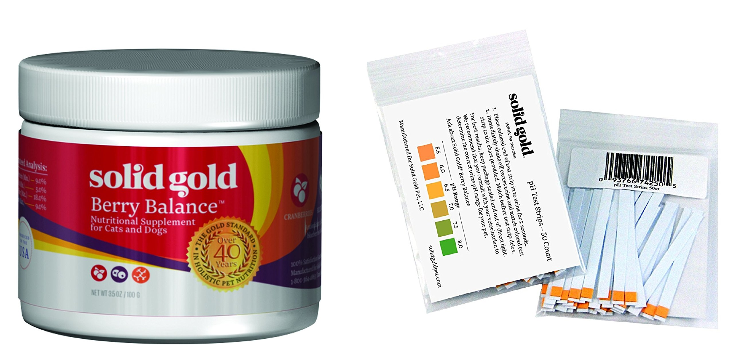 Solid Gold Urine Testing pH Strips(50ct) and Berry Balance Nutritional Supplement Powder(3.5oz) for Dogs & Cats - Natural Cranberry & Blueberry Flavor, All Ages, All Sizes