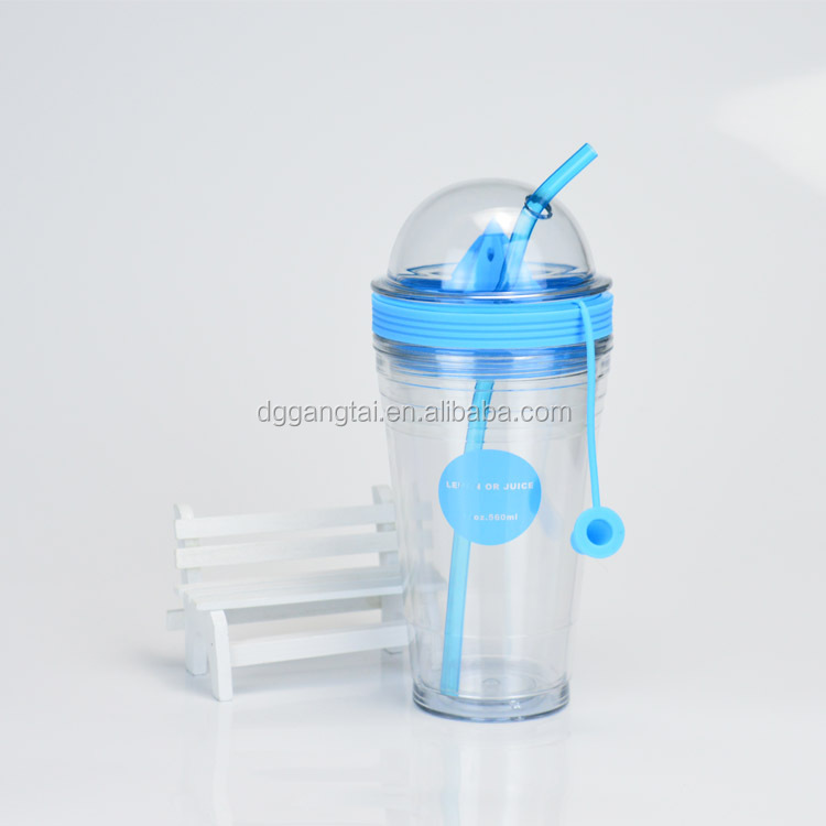 New style clear double wall fruit infuser lemon water bottle with straw