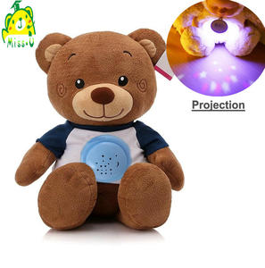 Soft Plush Material night light Teddy bear with baby sleeping moon & star projector