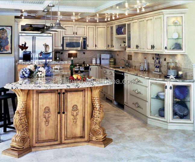 Luxe classique en bois massif armoires de cuisine avec for Voir cuisine americaine