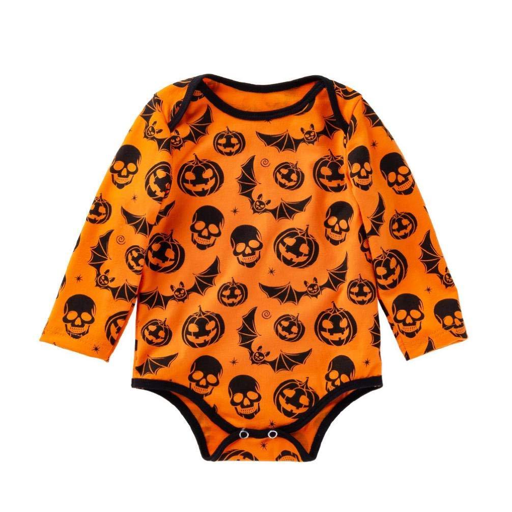 Newborn Baby Boys Girls Long Sleeve Halloween Romper Cartoon Skull Pumpkin Print Jumpsuit (12-18 Months, Yellow)