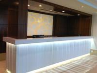 Mid-end artificial marble material led salon reception desk design