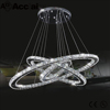 Ellipse hanging clear decoration k9 crystal LED 3 circles ring ceiling lighting