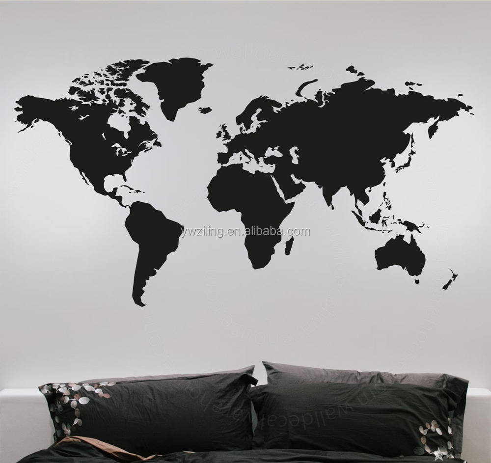 YA499 Fashion Large World Map Wall Sticker Creative Vinyl Wall Art Bedroom Home Decoration Decals Removable Wall Graphic