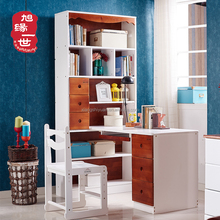 Durable kids wooden study table set with bookshelf