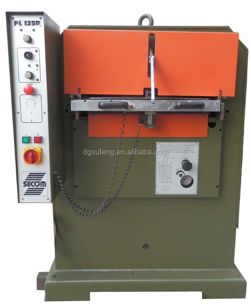 italian atom SECOM leather plating embossing machine 120T, leather machinery