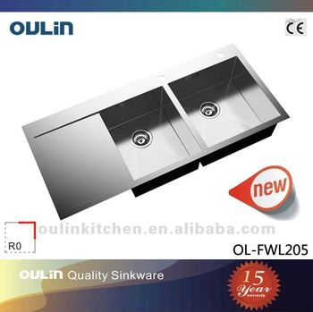 Oulin Double Bowl Stainless Steel Sink With Drainboard