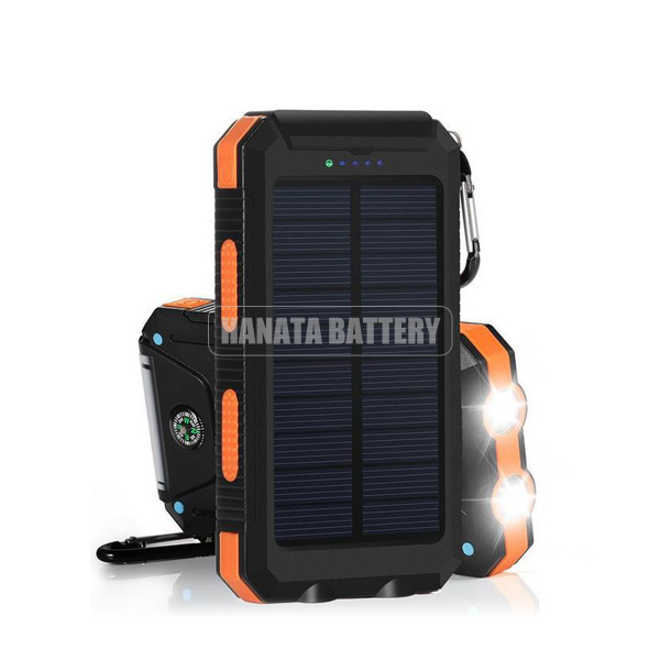 Portable Waterproof Solar Charger Power Bank Dual USB Output 5V 2A /Carabiner /Mini Compass /Thermometer for All Mobile Phones