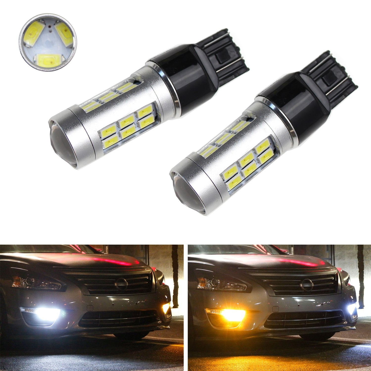 iJDMTOY (2) 21-SMD White/Amber Dual-Color Chipset High Power 7443 7444 7444NA T20 Switchback LED Bulbs For Car Front Turn Signal Light Replacement