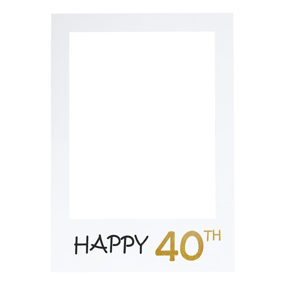 LUOEM Happy 40th Birthday Anniversary Picture Selfie Frame Cutouts Photo Booth Props for Birthday Wedding Anniversary Party