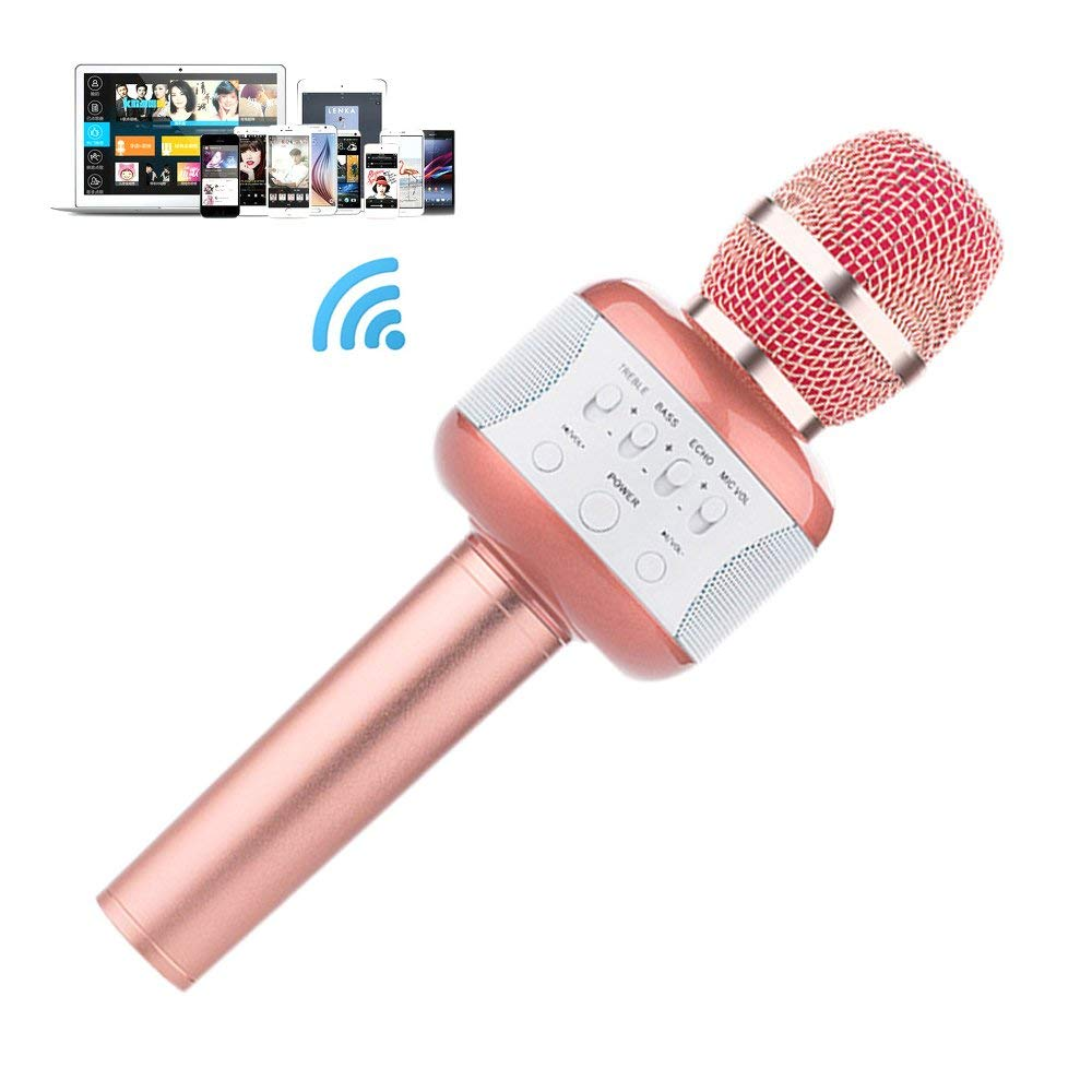 Wireless Bluetooth Karaoke Microphone,3-in-1 Portable Handheld 4 in 1 Portable Handheld Home Party Karaoke Speaker Machine for Android/iPhone/iPad/Sony/PC or All Smartphone (Pink)