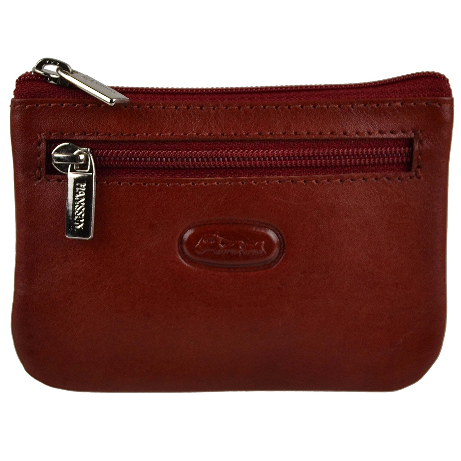 Hansson Men's Top Small Leather Coin Purse Pouch/Wallet By Key Ring