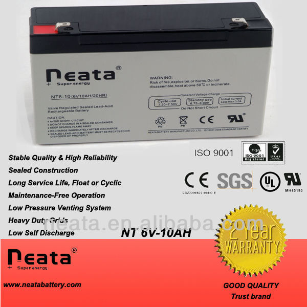Rechargeable Lead acid battery 6v10ah