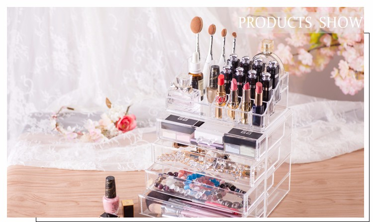 HOT sale clear 5 tier acrylic makeup organizer storage display box