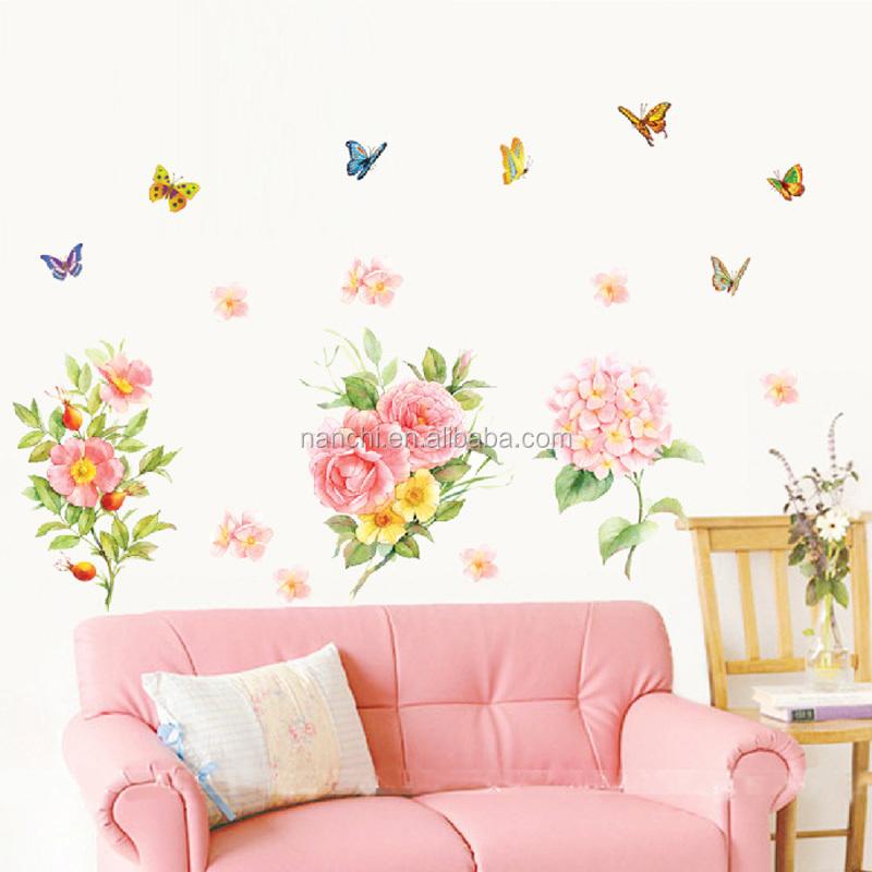 Mooie grade roze bloemen muurstickers kinderen kamers slaapkamer ...