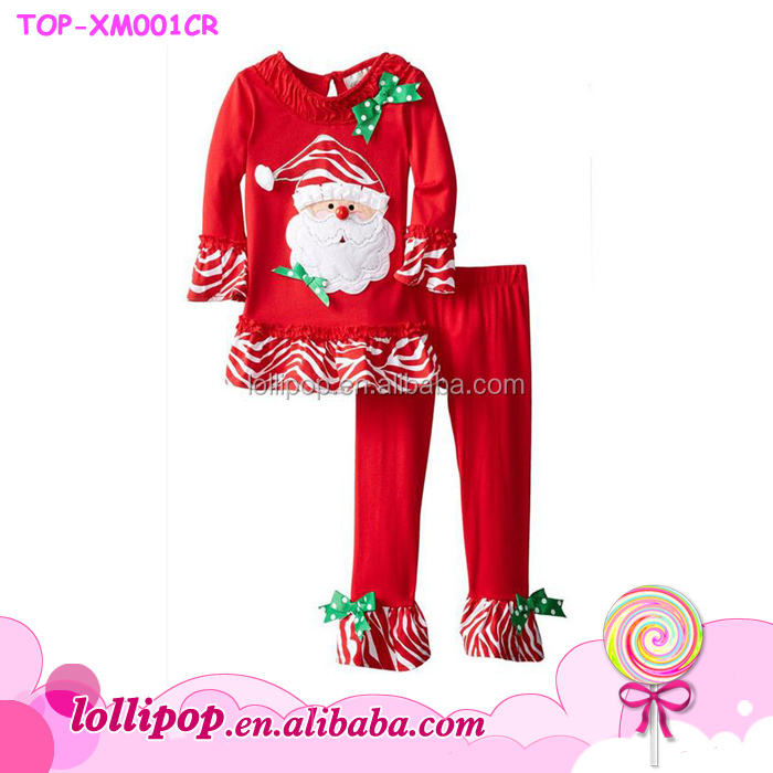 2016 new arrival long sleeve lovely kids toddler girl christmas Santa Claus outfit wholesale kids pajamas